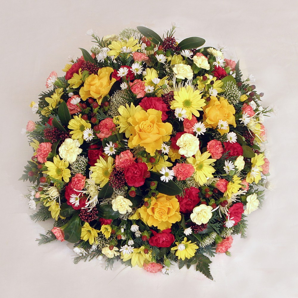 Yellow Red And Orange Funeral Posy Pads Beauty Of Flowers