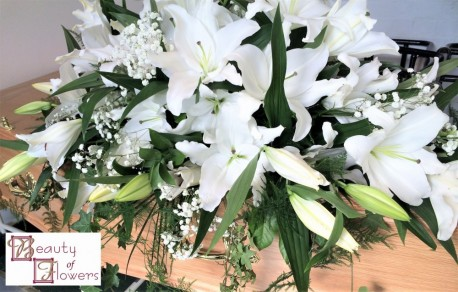 White Lily Coffin Spray S002