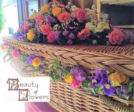 Wicker Coffin Garland and Oasis Spray S103