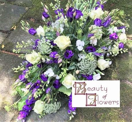 Purple and White Coffin Spray