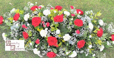 Red Rose and White Carnation Coffin Spray