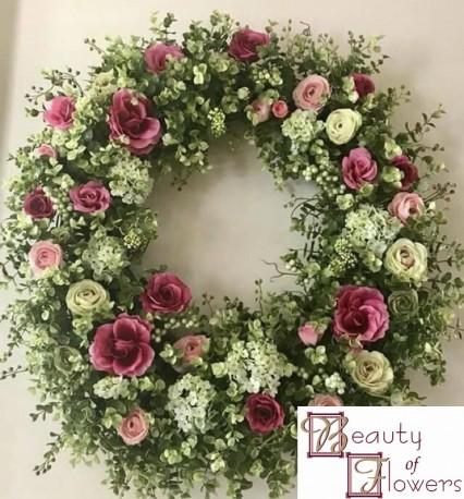 Burgundy and White Wreath