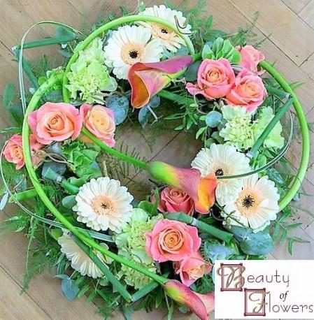 Peach and Cream Modern Wreath S052