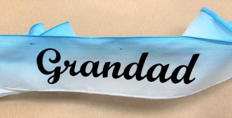 Grandad letters on blue satin ribbon