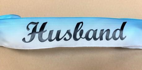 Husband letters on blue satin ribbon