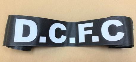 DCFC on black satin ribbon