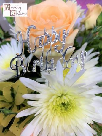 Happy Birthday Diamante Pick