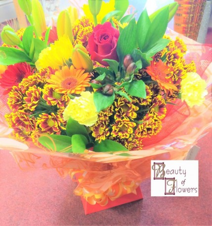Fire Cracker Watered Hand Tied