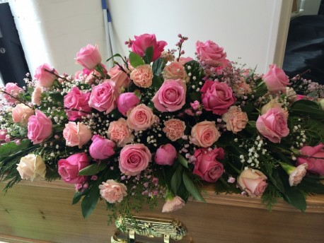 Pink Rose Coffin Spray