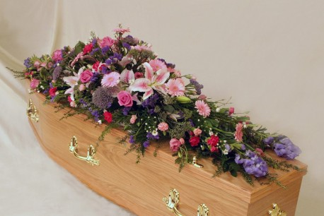 Pink and Blue Coffin Spray