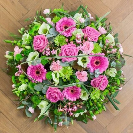 Pink and Green Funeral Posy Pad