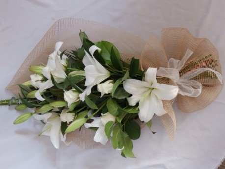 Natural Tied Sheaf of Lilies and Roses