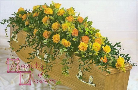Yellow Rose Coffin Spray S117