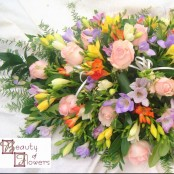 Mixed Freesia and Pink Rose Oasis Spray