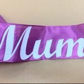 Mum Letters on Purple Ribbon