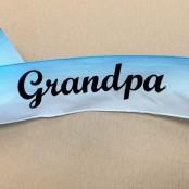 Grandpa letters on blue satin ribbon